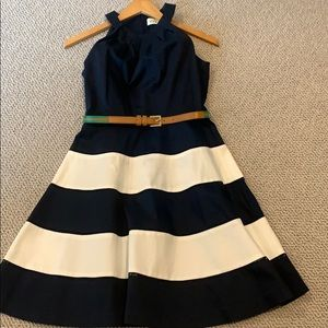 Eliza J. Navy & White Fit & Flare Dress w Belt 2